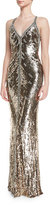 Jenny Packham Sequined Halter V-Neck Gown, Black/Gold