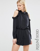 Asos Cold Shoulder Romper with Ruffles
