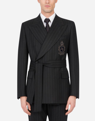 Dolce & Gabbana Belted Pinstripe Wool Jacket With Patch