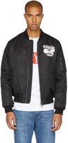 Moschino Black Milano Paint Bomber Jacket