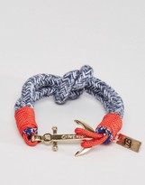 ICON BRAND Anchor Woven Bracelet In Blue