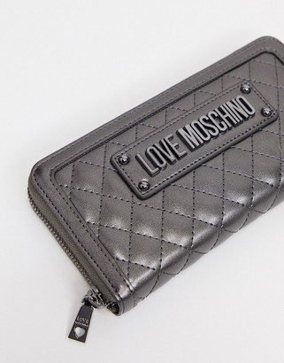 Love Moschino quilted large purse in gunmetal