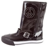 Moschino Girls' Patent Leather Peace Sign Boots