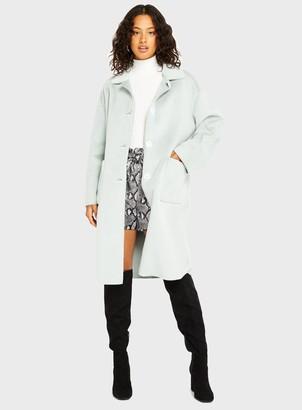 Miss Selfridge Mint Green Bonded Faux Fur Coat