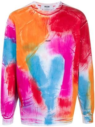 MSGM abstract-print long-sleeved T-shirt