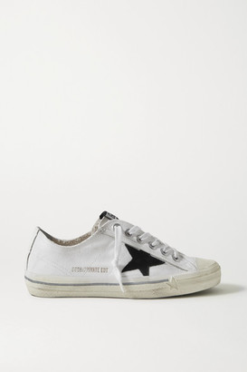 Golden Goose V-star Leather-trimmed Distressed Canvas Sneakers - White