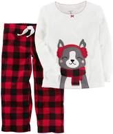 Carter's Girls' 12M-14 2-Piece Earmuff Dog Fleece Pajamas