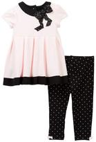 Little Me Bow Dress & Leggings Set (Baby Girls)