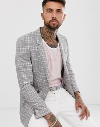 ASOS DESIGN slim double breasted gray blazer with pink prince of wales check