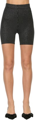 DANIELE CARLOTTA Striped Jersey Lurex Biker Shorts