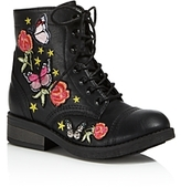 Steve Madden Girls' Embroidered Combat Boots - Little Kid, Big Kid