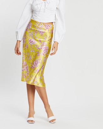 boohoo Floral Satin Bias-Cut Midi Skirt