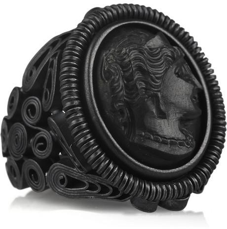 Bottega Veneta Blackened oxidized sterling silver cameo ring