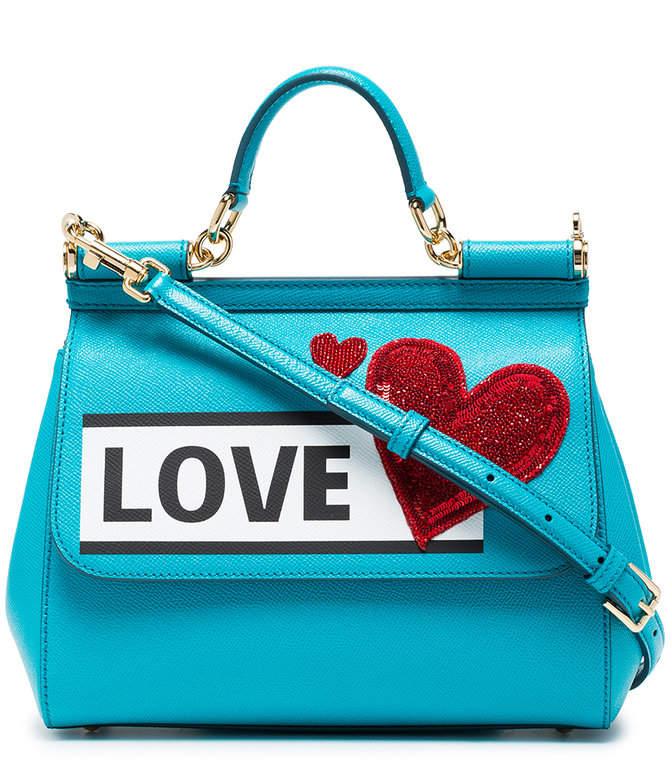 Dolce & Gabbana Blue Sicily Love Medium Leather Shoulder Bag
