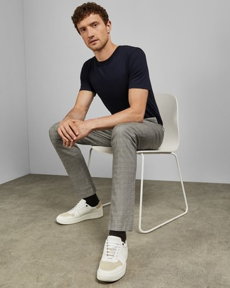 Ted Baker Checked Slim Fit Cotton Trousers