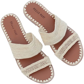 Proud Mary Footwear Raffia Two-Strap Slides (Natural)