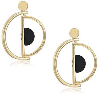 Ben-Amun Jewelry Women's Mod -Tone Versatile Hoop Black Stone Earrings