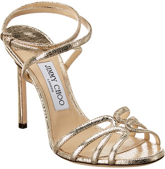 Jimmy Choo Mimi 100 Metallic Lizard-Embossed Leather Sandal