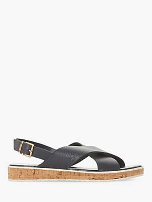 Dune Lorde Cross Strap Sandals, Navy Leather