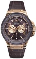 GUESS GUESS? W0040G3 45mm Stainless Steel Case Leather Mineral Men's Watch