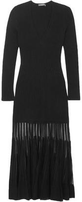 Alexander McQueen Mesh-paneled Ribbed-knit Dress