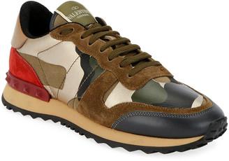 Valentino Rockrunner Camo Flat Sneakers
