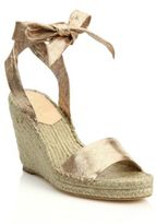 Loeffler Randall Harper Metallic Leather Espadrille Wedge Sandals