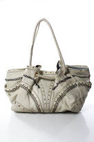 Cole Haan Beige Leather Embroidered Gold Tone Accnets Medium Hobo Handbag
