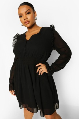 boohoo Plus Woven Button Front Shirred Smock Dress