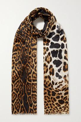 Saint Laurent Fringed Leopard-print Silk Scarf - Leopard print