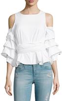J.o.a. Cotton Cold Shoulder Layered Blouse