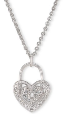 """Charter Club Holiday Lane Silver-Tone Pave Heart Padlock Long Pendant Necklace, 36"""" + 3"""" extender, Created for Macy's"""