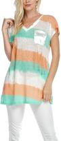 Orange & Aqua Stripe V-Neck Tunic