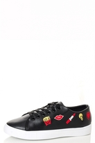 Quiz Black PU Embroidered Trainers