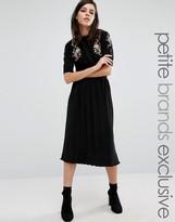 Fashion Union Petite Cameron Pleated Midi Skirt
