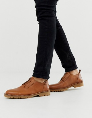 Selected chunky sole leather derby shoes in brown
