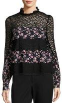 Nanette Lepore Fiora Lace Silk Blouse