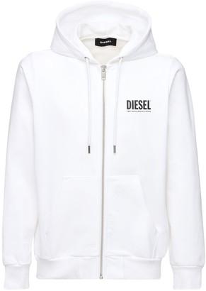 Diesel Logo Print Zip-up Cotton Jersey Hoodie