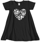 Urban Smalls Black Floral Heart Dress - Toddler & Girls