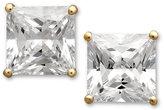 Arabella 14k Gold Earrings, Swarovski Zirconia Princess Cut Stud Earrings (3-3/4 ct. t.w.)