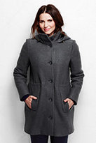 Classic Women's Plus Size Boiled Wool Hooded Parka-Washed Cobalt