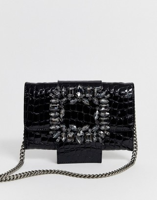 Kurt Geiger London Mayfair black leather croc purse with embellished buckle detail and detachable chain strap