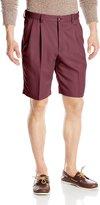 Haggar Men's Cool 18 Expandable Waist Gabardine Pleat Front Short