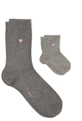 Falke Mini Me Cotton-blend Adult And Baby Socks - Light Grey
