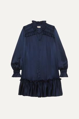 Temperley London Birdie Tie-neck Ruffled Satin Mini Dress - Navy