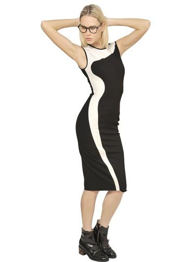 Stella McCartney Two Tone Viscose Compact Jersey Dress