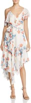 Olivaceous Floral Asymmetric Ruffle Dress
