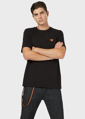 Emporio Armani Stretch Jersey T-Shirt With Eagle Micro Patch
