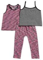 Body Glove Little Girl's Three-Piece Tank Top, Space Dyed Racerback Top and Leggings Set
