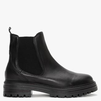 Alba Moda Black Leather Chelsea Boots